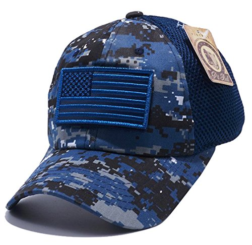 Military US Army/Navy Blue Digital Camo Vintage Cotton Cap USA Flag Patch Trucker Mesh Baseball Hat Dad Hat Army Gear