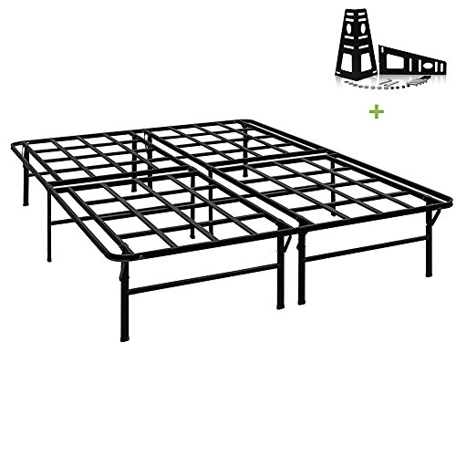 (TATAGO 3000lbs Max Weight Capacity 16 Inch Tall Heavy Duty Platform Bed Frame & 2 Set Headboard Bracket, Mattress Foundation, Non-Slip, No noise & No Box Spring Need for Saving)