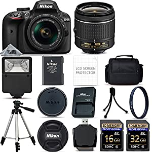 Nikon D3400 Digital SLR Camera AF-P 18-55mm VR Lens Kit - Black + 48GB SD Memory Card + Flash + UV Filter Kit + Tripod + Full Accessory Bundle