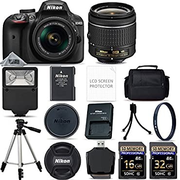 Nikon D3400 Digital SLR Camera AF-P 18-55mm VR Lens Kit Black + 48GB SD Memory Card + Flash + UV Filter Kit + Tripod + Full Accessory Bundle
