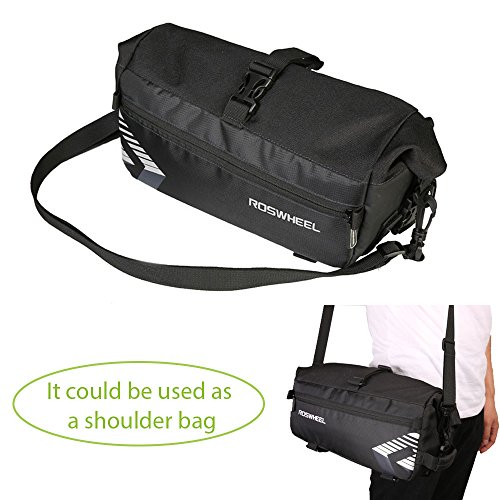 WOTOW Bike Rack Bag, 6L Massive Capacity Bike Rear Seat Bag Bicycle Cycling Pannier Rear Rack Trunk Bag with Shoulder Strap Two Pocket for Outdoor Traveling Hunting Commuting (Black)