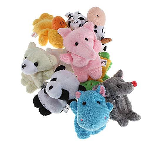 TuToy 10 Pi/èces Mignon Dessin Anim/é Biologique Animal Doigt Marionnette Jouets En Peluche Enfant B/éb/é Faveur Poup/ées Marionnettes /À Doigt