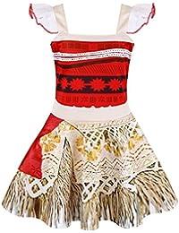 75de32012b7a Princess Moana Dress Little Girls Lace Sleeveless Costume Cosplay Outfit