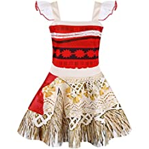 AmzBarley Girls Dress Moana Costume Princess Lace Sleeveless Party Dress up Outfit