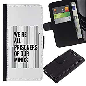 """Be-Star la tarjeta de Cr¨¦dito Slots PU Funda de cuero Monedero caso cubierta de piel Para Sony Xperia Z1 Compact / Z1 Mini (Not Z1) D5503 ( Todos los Prisioneros nuestras mentes Cita Pensamiento"""" )"""