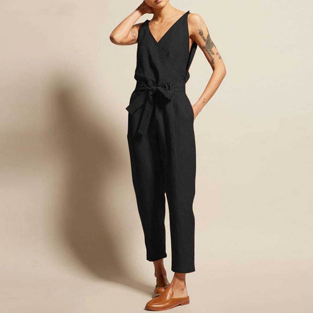 Huarll Womens Casual Comfy Cotton Linen V-Neck Sleeveless Tank Top Jumpsuit with Belt Loose Fitting Jumpsuits Romper