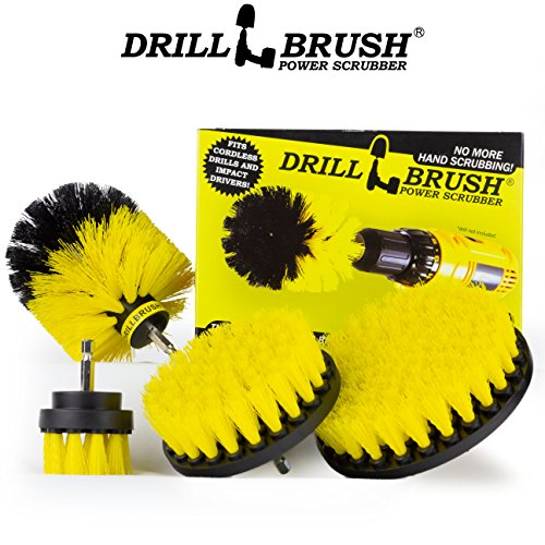 Drillbrush 4 Piece Nylon Power Brush Tile and Grout Bathroom Cleaning Scrub Brush Kit