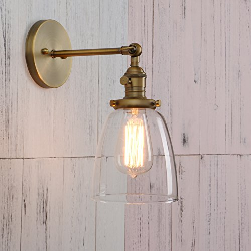 Wall Lights Shades (Permo Industrial Vintage Single Sconce With Oval Cone Clear Glass Shade 1-light Wall Sconce Wall Lamp (Antique))