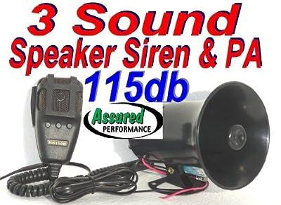 Assured Performance Police Tone 3 Sound Siren + Microphone 50w 115db Ton of Fun