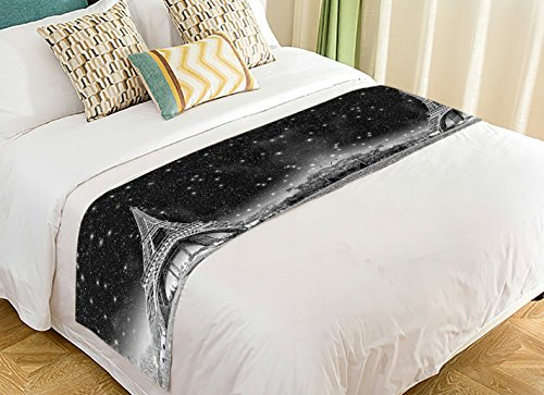 Custom City Landscape Bed Runner, Paris Eiffel Tower in Wonderful Night Sky Bed Runners And Scarves Bed Decoration 20x95 inch for $<!--$26.99-->