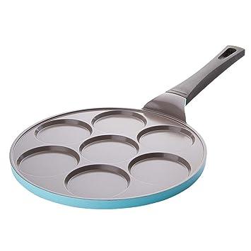 Sartenes para Huevo con Revestimiento de cerámica Antiadherente con diseño de 7 moldes para Mini panqueque, plet, crepé, Compatible con inducción Multi ...