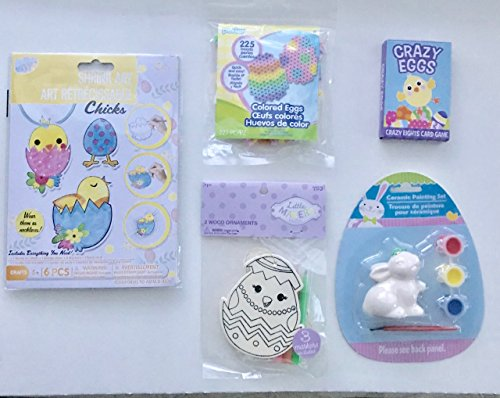 Perler Ornaments (Childrens Easter Craft/Activity Bundle. Chick Shrink Art, Colored Eggs Fused Bead Kit, Ceramic Bunny Painting Set, Easter Wood Ornament Set, Easter Card Game. FIVE Activity Piece Bundle)