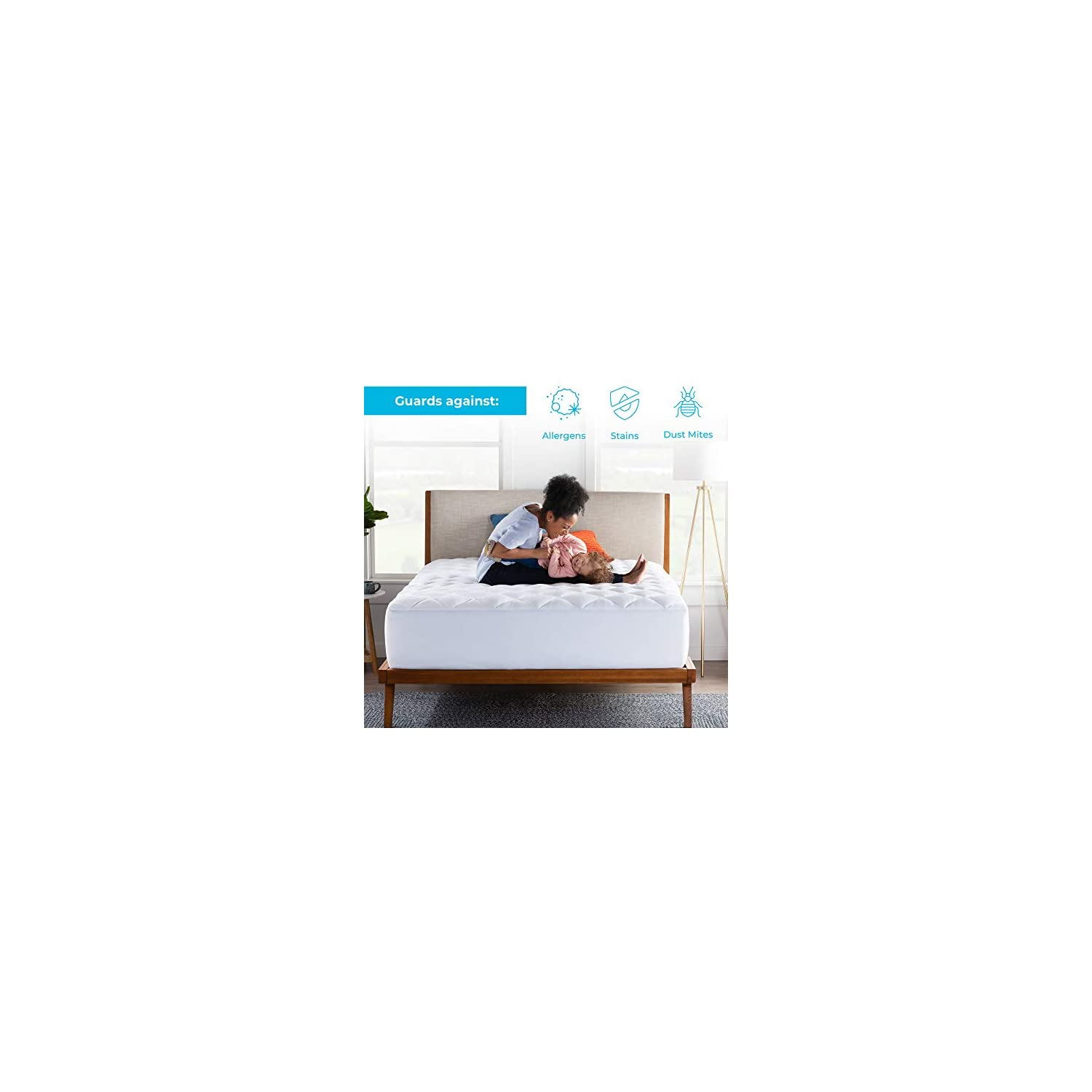 LINENSPA Ultra Plush Pillow Top Mattress Pad- Rayon from Bamboo Cover with Down Alternative Fill, California King, White