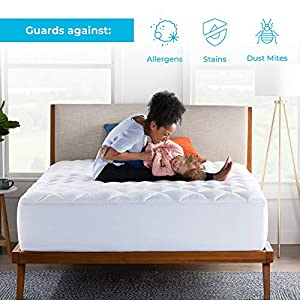 LINENSPA Ultra Plush Pillow Top Mattress Pad- Rayon from Bamboo Cover with Down Alternative Fill, Twin, White