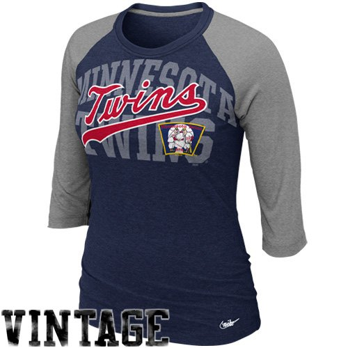 NIKE Minnesota Twins Women's Raglan Sleeve Premium T-Shirt - Navy Blue (Large) ()