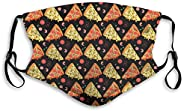 P PIPIGOU Face M_as&ks Cover Scarfs Cartoon Pizza Personalized Mouth Sleeve Guard With Filter Unisex Washa