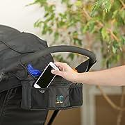 Luna Baby Stroller Organizer Magnetic Closure System Black