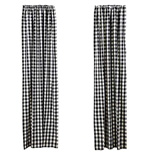 LGHome Black and White Buffalo Check Curtains Gingham Window Panels, 53x84inch,Pack of One Pair]()