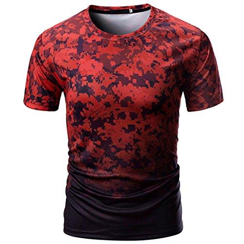 Chic Neck Top Estate Adeshop e Shirt Abbigliamento Pullover For shirt manica Camouflage Rosso Men Camicetta Casual Sport corta O Fitness T Camicie WYRY7Z