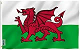 ANLEY [Fly Breeze] 3x5 Foot Wales Flag - Vivid Color and UV Fade Resistant - Canvas Header and Double Stitched - Welsh National Flags Polyester with Brass Grommets 3 X 5 Ft