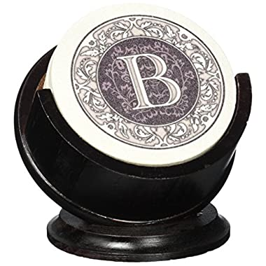 Thirstystone TSMB-H13 4 Piece Monogram Coaster Set with Pedestal Holder, Multicolor