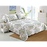 Stumix LuxuryReversible Quilt Set 3PC Set,Super Soft Bed Quilt Bedspread Bed Cover (Queen, Green Floral Pattern)
