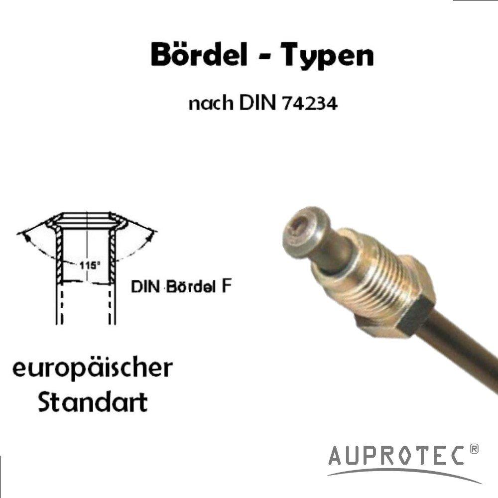 Tubo di Freno /Ø 4,75 mm Rame-Nickel assemblato Svasatura DIN F Tubi di Cupronickel DIN 74 234 per impianto frenato Tubazione dei Freni 150mm 3050mm selezione Lunghezza 700 mm