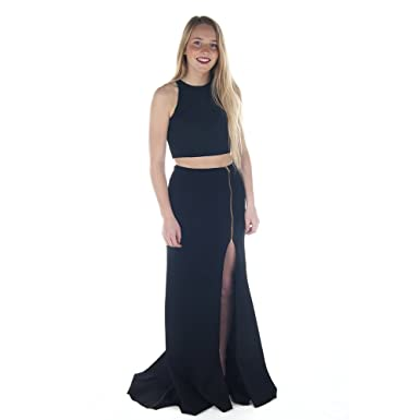 Sherri Hill 50881 Black 2 Piece Crop Top Dress UK 8 (US 4)