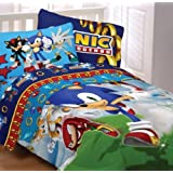 Sega Sonic The Hedgehog Twin Comforter & Sheet Set (4 Piece Bedding)