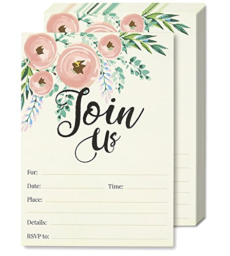 Watercolor Join Us Invitation Cards - 50 Fill-in Floral Classy Invites with Envelopes for Kids Birthday, Bridal Shower, Wedding, 5 x 7 Inches, Postcard Style -