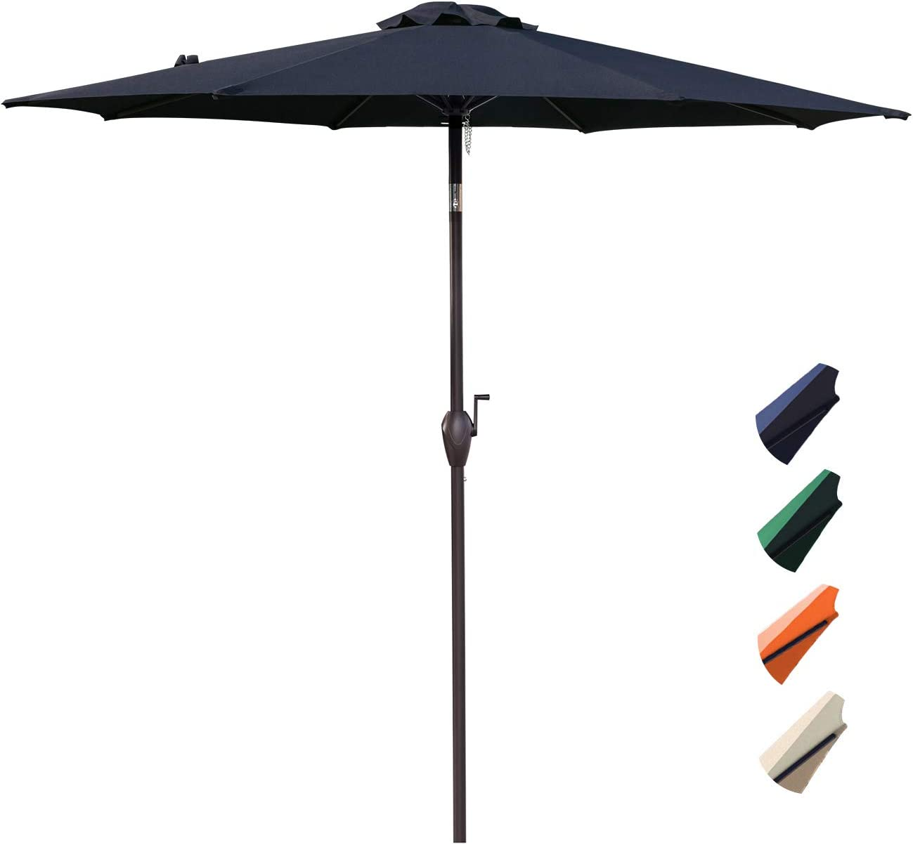 RUBEDER 9 Patio Umbrella Outdoor Market Table Umbrella with 8 Sturdy Ribs,Wing Vent,Push Button Tilt Crank 9 Ft, Navy 2
