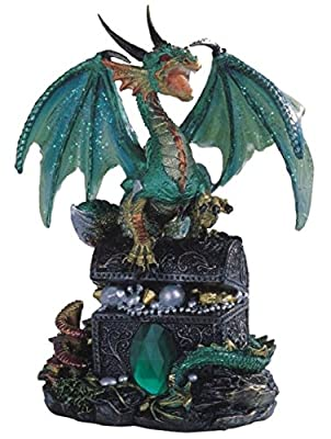 StealStreet Ss-G-71353 Dragon Standing On Treasure Chest Collectible Figurine Statue, Green