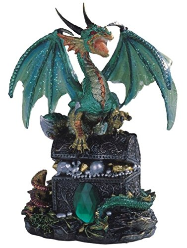 StealStreet Ss-G-71353 Dragon Standing On Treasure Chest Collectible Figurine Statue, (Standing Statue Figurine)