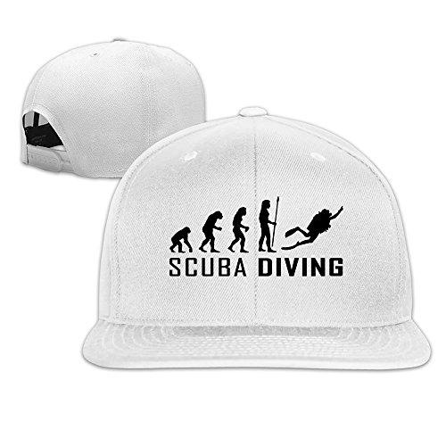 Custom Unisex White Adjustable Cool Evolution Scuba Diving Snapback Flat  Cap One Size 59708d8849ec