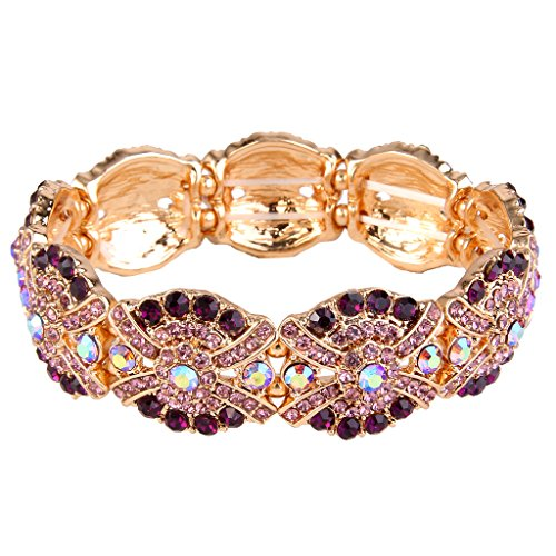 EVER FAITH Women's Austrian Crystal Stunning Flower Knot Elastic Stretch Bracelet Purple Gold-Tone