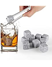 Whiskey Rocks - Premium Whiskey Stones Gifts Set Gray - 100% Natural Granite - Set of 9 Whiskey Chilling Cubes