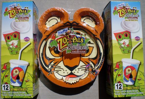 HEFTY ZOOPALS SAFARI COLLECTION 24 EIGHT OUNCE CUPS AND 20 PLATES