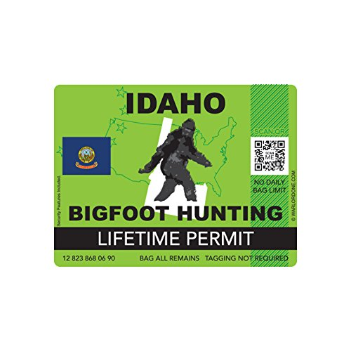 Idaho Bigfoot Hunting Permit Sticker Die Cut Decal Sasquatch Lifetime FA Vinyl
