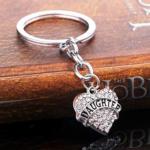 Alphabet Eyelet Tag - 1 Pc Crystal Rhinestone Heart Silver Clear Keyring Gift Pendant Teenagers Wrist Wristlet Keys Hook Key Chain Grand Popular Pocket Bag Car Keychains
