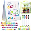 LittleMag Magnetic Easel and Whiteboard for Kids – 4 Dry Erase Markers, 72 Magnet Numbers and Letters, and Bonus Carrying Bag – Table Top Educational Children's Play Set