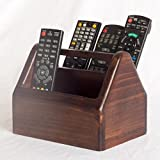 Remote Control Holder - Wooden - 2 Compartments - Centre Handle