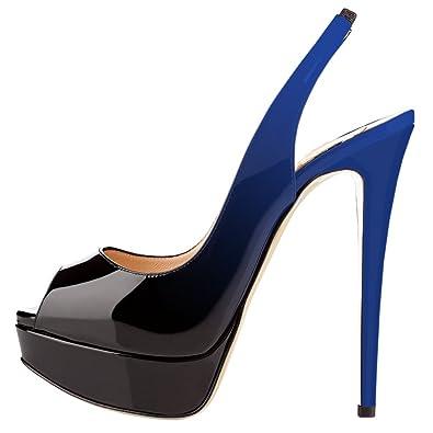 9e8a5b5186bdbb EKS Damen Peep Toe Slingbacks Pumps Plateau High Heels Damen Schuhe  Blau Schwarz 35 EU