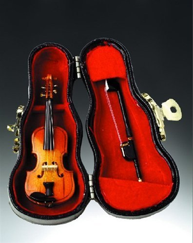 Violin Music Instrument Miniature Replica with Case, Size 3 in. (Del Violin)
