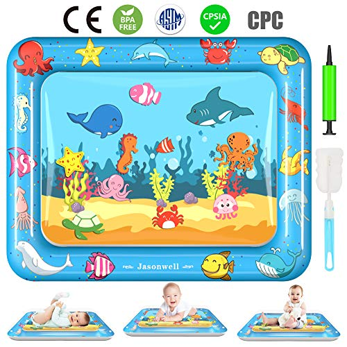 Jasonwell Tummy Time Water Mat Baby Toys 3 6 9 12 Months Old 30X24 Inches X-Large Infant Toys Inflatable Water Play Mat for Newborn Boys Girls Play Activity ()
