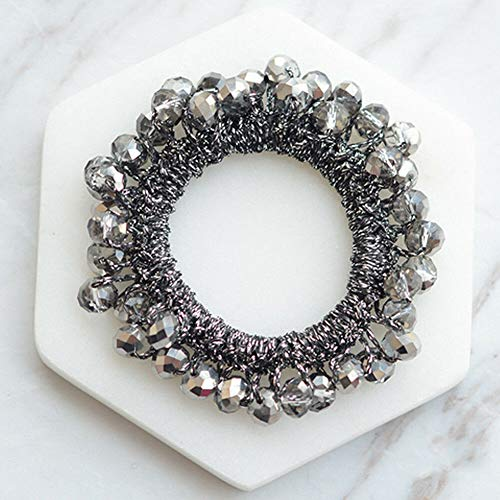 (Women Girls Hair Band Ties Rope Ring Velvet Pearl Rose Elastic Ponytail Holder (StyleID - #10-Silver Black))