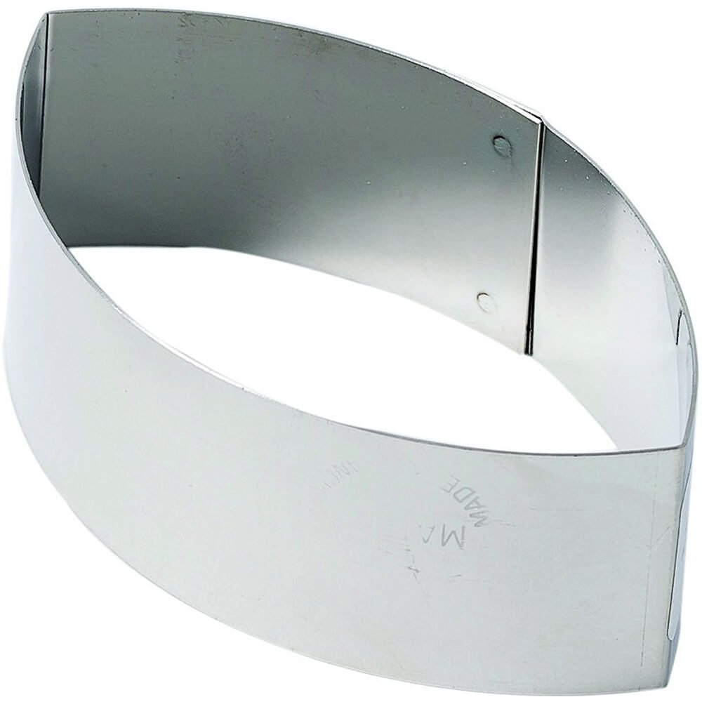Matfer Bourgeat Stainless Steel Pastry/Dessert Ring Mold, Oval Pointed Shape, 3.5'', 4PK 375041