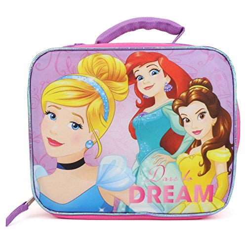 Trendy Apparel Shop Girl's Princess Rectangle Insulated Lunch Box Bag with Strap - MAUVE ()