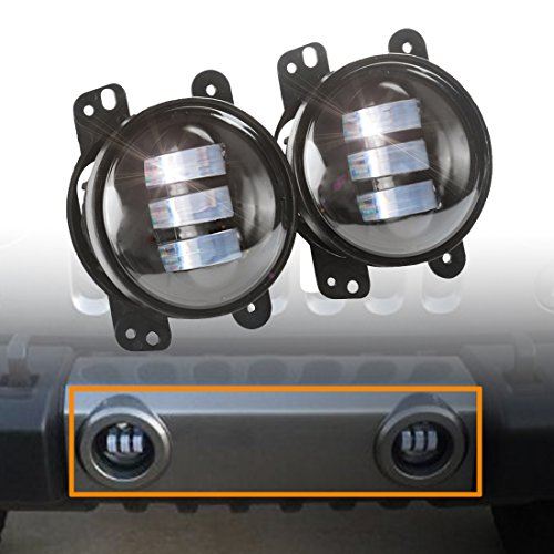 Projector Fog Lamps - 2pcs 4 Inch 30w Cree Led Fog Lights Len Projector for Jeep Tractor Boat Led Fog Lamps Bulb Auto Led Headlight Driving Offroad Lamp for Jeep Wrangler Dodge Chrysler Front Bumper Lights