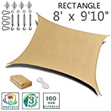SUNNY GUARD 8'x 9'10'' Sand Rectangle Sun Shade Sail UV Block with Stainless Steel Hardware Kit for Outdoor Patio Garden