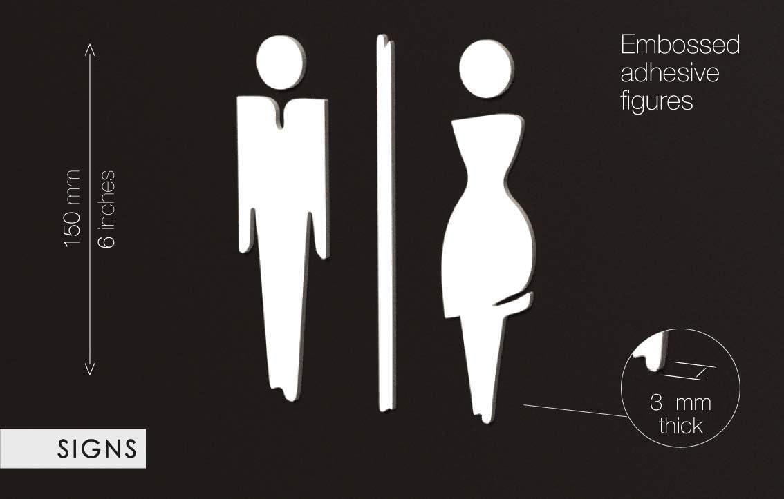 Adesivi WC Restroom 15 cm Targa Bagno a Rilievo - Set Adesivo Toilette di Design WCF 3DP Signs Targhette Bagno Uomo Donna Bianco